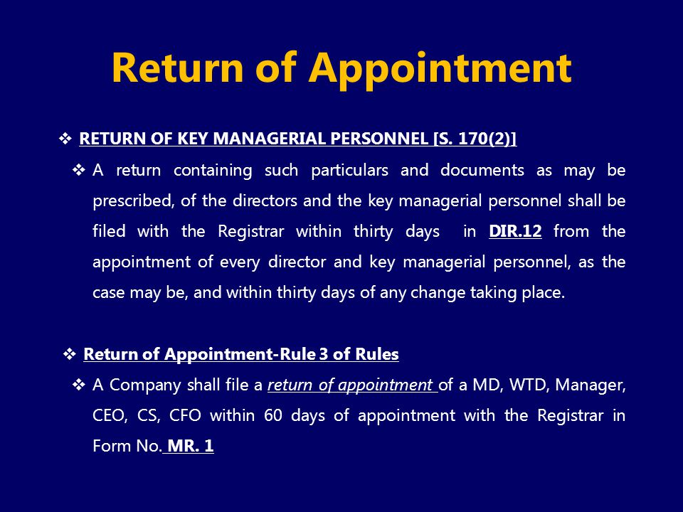 Return of Appointment RETURN OF KEY MANAGERIAL PERSONNEL [S. 170(2)]